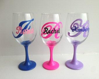 Set of 3 Initial Wine Glasses, Name Wine Glass, Custom Monogram Glass, Painted Wine Glass, Gift for her, Gift for him, Initials, Wine Glass