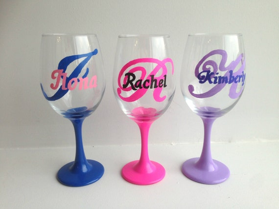 Set of 3 initial wine glasses name wine glass custom for Painted wine glasses with initials