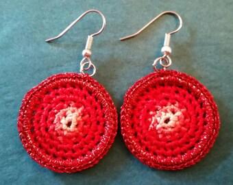 Small Crochet Anita Earrings - Red blend