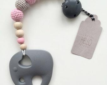 Beissekette elephant crochet Pearl pastel
