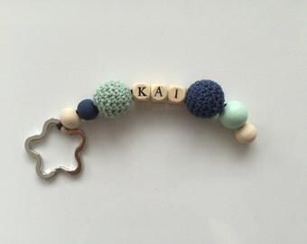 Personalized crochet with beads keychain