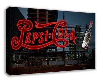 Retro Pepsi Cola Vintage Neon Sign Canvas Wall Art