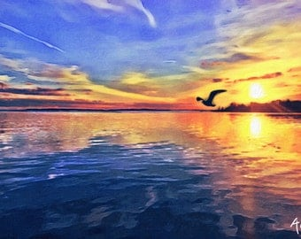 Gull Coast | digital download | Sunset | Wall Art | Home Decor | Bird Print | Birds | Sunset Skies | Digital Print | Ocean | East Coast