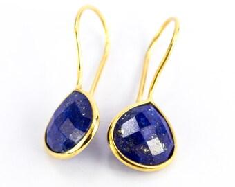 Lapis Lazuli Earrings/Lapis earrings/Pear shape Lapis Lazuli Earrings/September Birthstone/wife gift