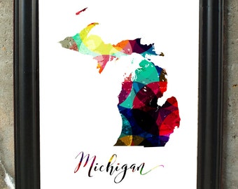 Map of Michigan Personalized Michigan Map Bedroom Art Gift for Him Gift for Wife Bar Decor Map Print Art Map Art Print Wall Decor Hanging