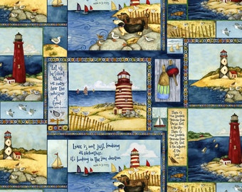 SPX Country Lighthouses Cotton Fabric - By the Yard