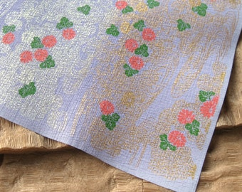 Vintage Lavender Momi Chiyogami Floral Silkscreened Kozo Paper Crinkled Texture Sheet