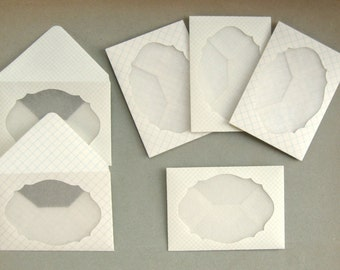 Mini Window Envelopes Made from Vintage Graph Paper & Glassine Paper Set of 6