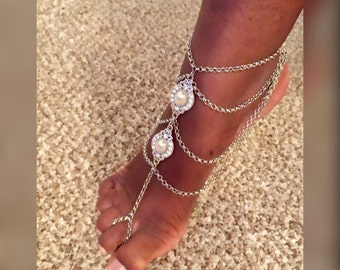 Silver Barefoot Sandals- Footless Sandals- Bohemian Anklet- Ankle Jewelry- Foot Jewelry