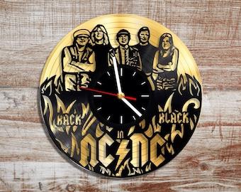 Band ac/dc vinyl wall clock. Gold record.