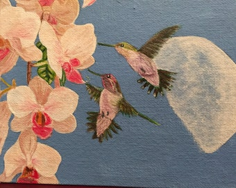 Hummingbirds with Orchids and Moon