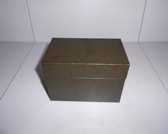 Vintage Industrial Green Steel Index Card/File Box