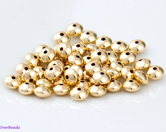 5MM (4.7mm x 2.4mm) - 20pcs 14K Gold Filled Rondelle Saucer Beads, SEAMLESS, POLISHED, Made in the USA, Highest Quality OV38