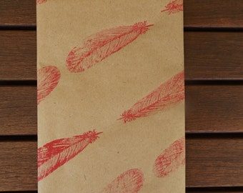 Hand Printed, Pink Feather Wrapping Paper