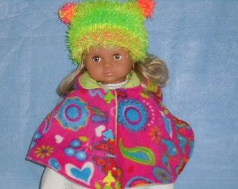 Cheerful fleece poncho with Hat