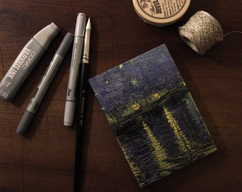 "VanGogh ""Starry Night Over The Rhone"" Copybook Coptic Binding with Pocket"