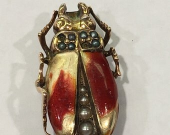 Antique 14k enamel beetle pin brooch with seed pearls
