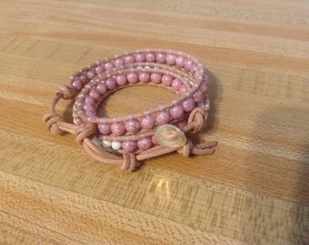 Pink & White Leather Wrap Btacelet