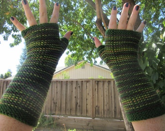 Handknit Fingerless Gloves Superwash Wool, Green Stripes