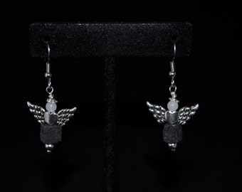 Black and White Meet in the Middle Angel Earrings