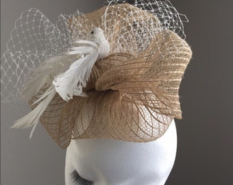 Natural and white fascinator with dove