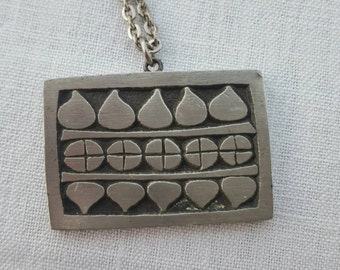 Rune Tennesmed vintage swedish pewter necklace tenn pendant