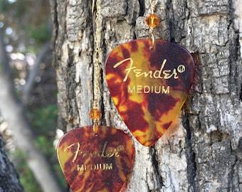 Fender Tortoise Shell Pick Earrings | Guitar Pick Earrings | Trendy Jewelry | Long Drop Earrings |