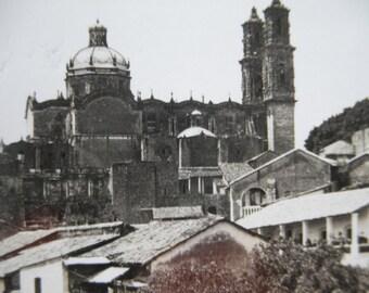 Antique 1920's Real Photo Postcard Post Card Mexico RPPC Taxco Black & White image