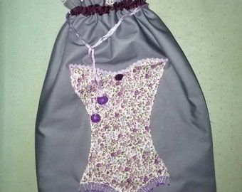 Lingerie patterned Corset beaded pouch