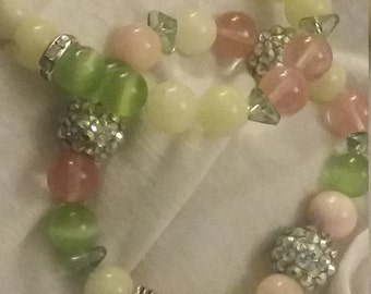 Pink and Green Stretch Handmade beaded bracelet set