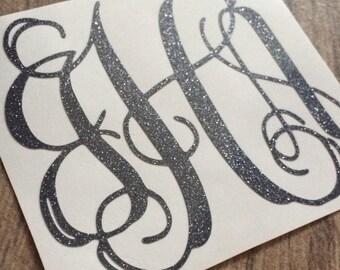 3 inch Glitter Monogram Decal Sticker / Sparkly Monogram / Yeti Monogram Glitter / Glitter Monogram Sticker / Yeti Glitter Monogram