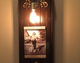 8x10 antique, industrial lighting picture frame