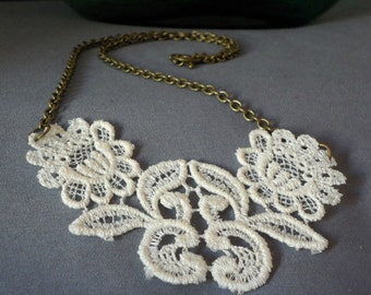 Lace Necklace with Antique Brass Chain 17 Inch Length