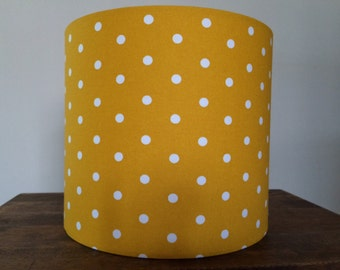Hand made rolled-edge 30cm 'mustard polkadot' fabric lampshade