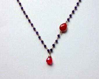 Fuchsia Chalcedony Drop Necklace