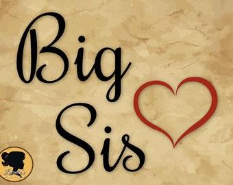 Big Sis Silhouette,  Big Sis SVG, Big Sis heart SVG, (zipped .eps .pdf .dxf .svg and .studio file) vector cutting files