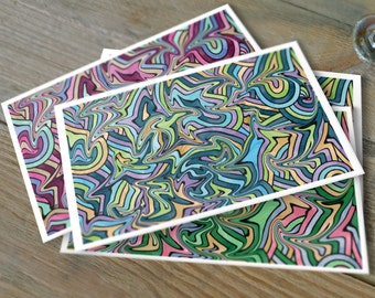 Psychedelic Swirl Note Cards, Set of 10 Cards, Colorful Stationery Cards