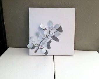 Handmade aspen leaf shadow art