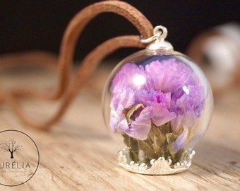 Real dried flower necklace purple