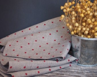 Linen Tea Towels, Grey, Natural polka dots Kitchen towels, dish towels