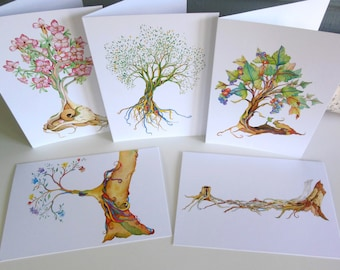 Tree greeting cards whimsical design watercolor printed  everyday cards 5 card pack