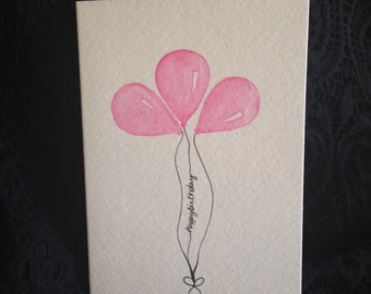 Watercolor handpainted happy birthday blank card