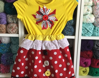 Girls Skirt, reversible, Minnie Mouse, Mickey Mouse, Disney, red, black, white, yellow, polka-dot, reversible skirt, toddlers skirt