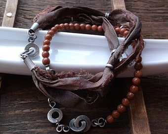 BROWN SUGAR, brown bracetet, chocolate brown, goldstone bracelet, caramel brown, silk bracelet, sterling silver, silver donut