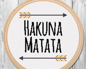 HAKUNA MATATA Cross Stitch Pattern for Instant Download