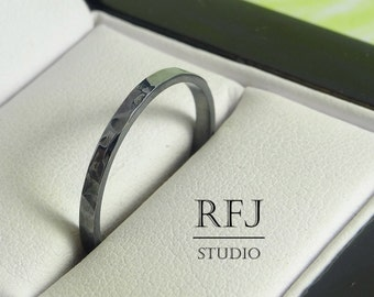 2 mm Blackened Textured Silver Band, Thin Stacking Band, Hand Hammered Ring, Stackable Oxidized Ring, 925 Silver Hand Textured Black Ring