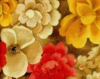 """Fabri-Quilt: Topaz Master Floral with Metallic fabric  100% cotton fabric by the yard 36""""x43"""" (C242)"""