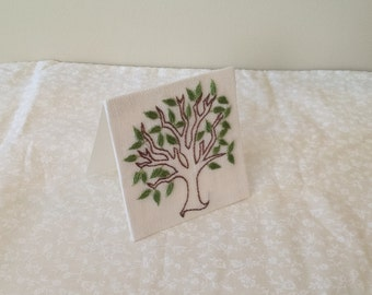 Miniature Summer greeting card, hand stitched in linen