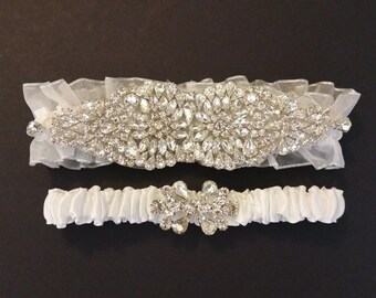 Wedding garter, Bridal Garter Set - Crystal Wedding Garter Set