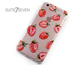 iPhone 7 Plus Case, iPhone 6 Case, iPhone 6s, iPhone Cases, Clear Case, Samsung Galaxy Cases, Rubber Case, Galaxy S7 Case, Strawberries